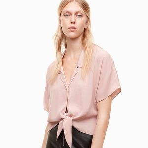 Wilfred Free 'Tie-Front' Cropped Button Front Top
